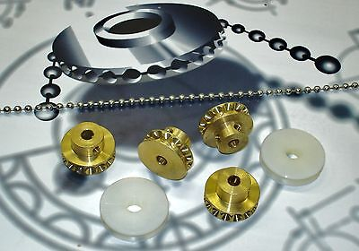 Bead Chain Positive Drive System Starter Kit,4 Brass Sprockets, Chain,Connectors