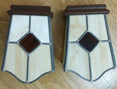 2 Vintage Thomas Industries Leaded Glass And Wood Wall Lights--Gorgeous