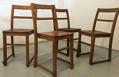 Set Of Four Elm And Beech Antique 30S Old School Retro Adult Size Chairs • £75.00