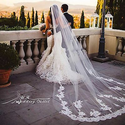 Bridal super LUXURY wedding cathedral tulle flower lace veil with comb ivory 3 m