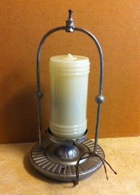 Antique Art Deco Cast Iron  &  Custard Glass Ceiling Light Fixture