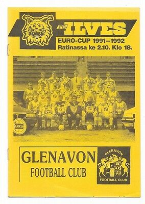 Ilves v Glenavon, 1991/92 - Cup Winners Cup, 1st Round Match Programme