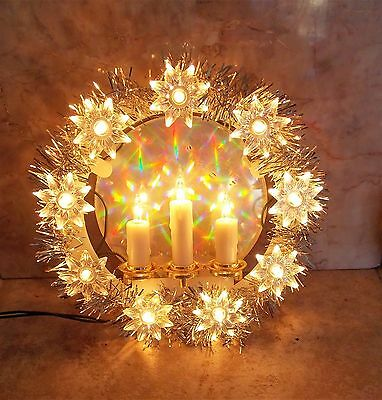 """Vintage 7"""" Lighted Electric Candle Silver Foil Christmas Wreath Light WORKS!"""