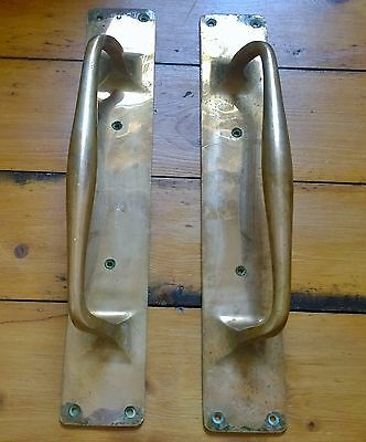 Pair Brass/Bronze William Tonks & Sons Large Door Pulls Plates Handles WT&S 1860