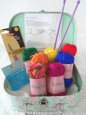 Childrens Knitting Kit LEARN TO KNIT Wool Needles Pattern Beginners Craft box