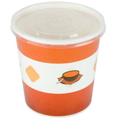 Choice 16 oz. Double-Wall Poly Paper Soup / Hot Food Cup with Plastic Lid - 125