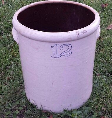 Salt Glaze Crock Blue Numbers 12 Gallon