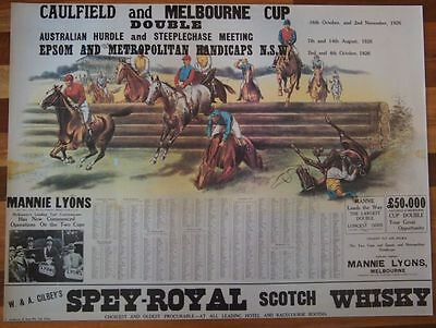Horse Racing Caulfield & Melbourne Cup Double Poster Print 1926 Events