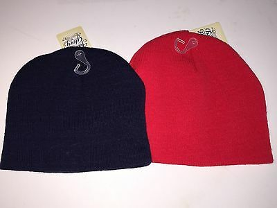 Boy's Faded Glory Solid Red and Blue Beanie Hats, One Size