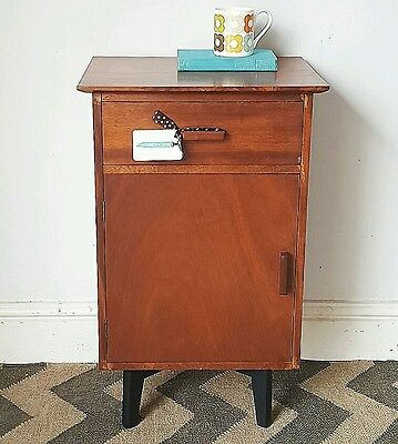 RETRO Mid-Century 1960s TEAK Bedside Cabinet with GEOMETRIC lined Drawer