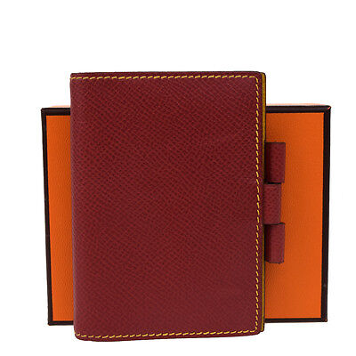 Authentic HERMES Logos Agenda Day Planner Cover Leather Red Yellow France 07P261