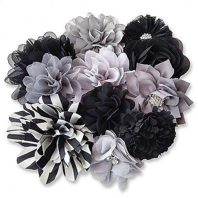 BLACK GREY Fabric Flowers CRAFT Glue/Sew On Embellishment Applique Garment Hair