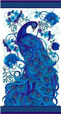 Moasic Peacock Plume Blue Patchwork Fabric Panel  - 7770829