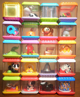 20pc FISHER PRICE PEEK A BLOCKS ALPHABET LETTERS ANIMALS LOT E