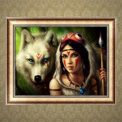 DIY 5D Diamond Painting Wolf Beauty Embroidery Cross Stitch Home Decor