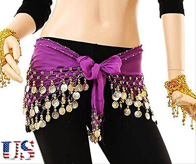 US STOCK Belly Dancing Hip Skirt Scarf Golden Coins Wrap Belt Hipscarf Purple