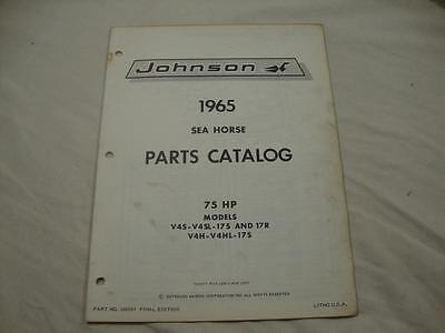 Johnson outboard parts catalog manual 1965 Sea Horse 75 HP V4S V4H 17S 380581