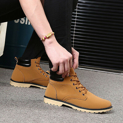 Fashion Men Boy Ankle Boots Fur Lined Winter Autumn Snow Warm Martin Boots Shoes