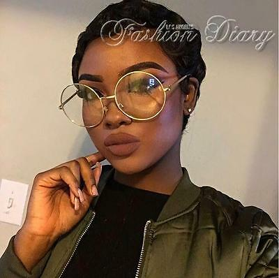 New Oversized Clear Lens Glasses Metal Gold Frame Round Large Circle Eyeglasses