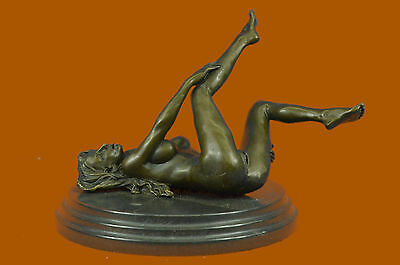 Signed Real Bronze on Marble Base Bookend Sculpture Nude Girl Exposed Breasts