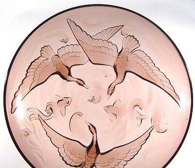 """Vintage FrenchArt Deco Bowl, Signed """"Verlys"""", Wild Geese and Fish, Mauve Glass"""