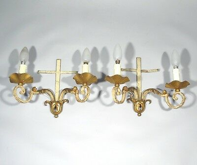 Pair of Vintage French Wrought Iron Gilded Tole Sconces, Acanthus Morning Glory