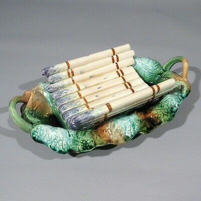 Antique or Vintage French Creil & Montereau Majolica Asparagus Cradle Platter