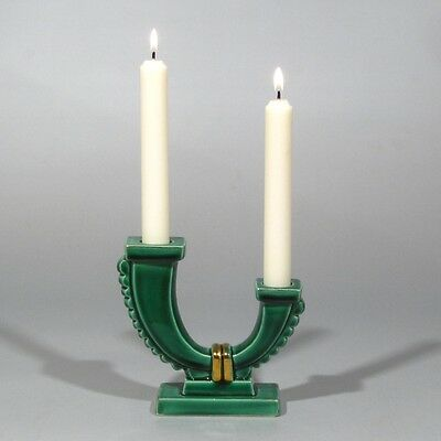 Vintage French Art Deco Majolica Candlestick, Green with Gold Leaf