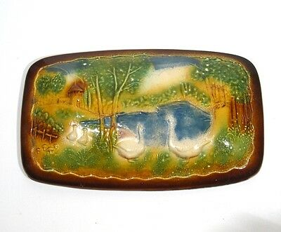 Authentic Old French Country Faience Terrine, Landscape with Chateau and Geese