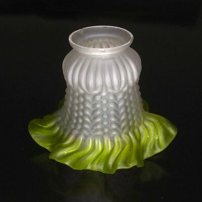 Vintage French Frosted Glass Lamp / Ceiling Shade, Ruffled Edges, Lime Green