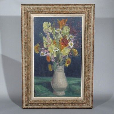 """Vintage French Oil Painting """"The Bouquet"""", Flowers Iris Spring, Signed Balletti"""