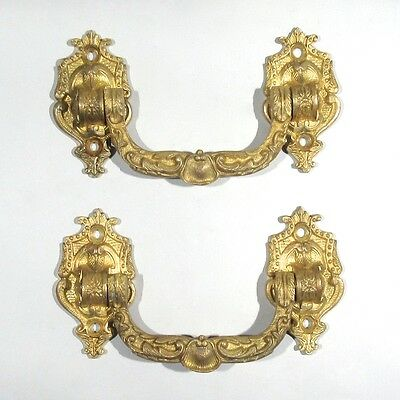 Pair of Antique French Gilded Bronze Drawer Pull Handles