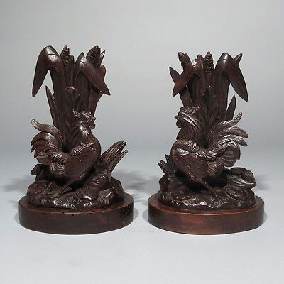 Antique French Black Forest Hand Carved Wooden Vase Holder Candlesticks, Rooster