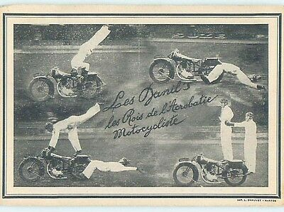 Pre-Linen blank back foreign postcard MOTORCYCLE STUNT RIDERS IN FRANCE HL9764