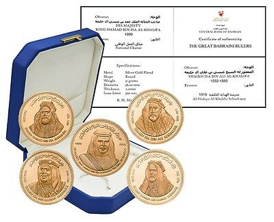 Bahrain 31g Silver Gold Plated 5 Pieces (PCS) Coin Set, 2012, Mint, Great Rulers