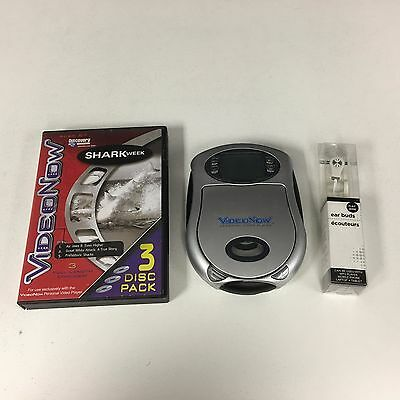 Video Now Personal Video Player Silver With Earbuds + Shark Week Discs