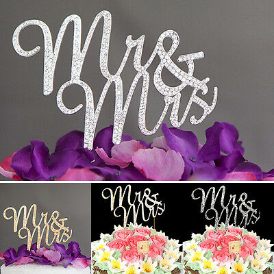 MR and MRS Crystal Rhinestone Wedding Cake Topper Party Anniversary Decoration