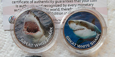 GREAT WHITE POINTER SHARK 50c COINS x 2 - USA - MINT IN SLEEVE - FREE POST - JAW