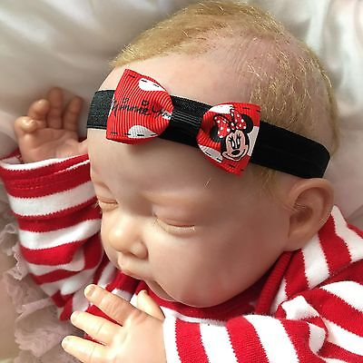 Baby Girl Black Headband with Small Red Minnie Mouse Print Bow 1-36M