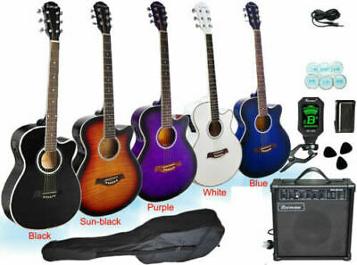 Electric Acoustic EQ Guitar With Tuner Bag Picks Strap Tool Cord Amp Set