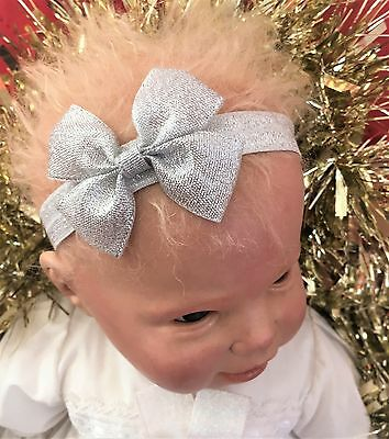 Baby Girl Silver Headband with Silver Metallic Bow Christening