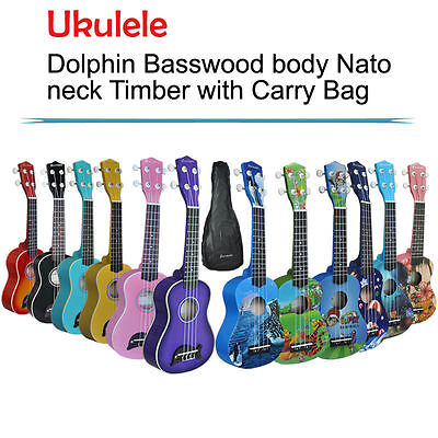 Kids Guitar Basswood Soprano Ukulele Timber With Carry Bag