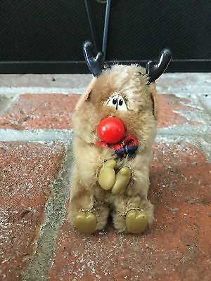 Vintage Rudolph The Red Nose Reindeer Clip On Plush Hugger  Russ 80's EXCELLENT