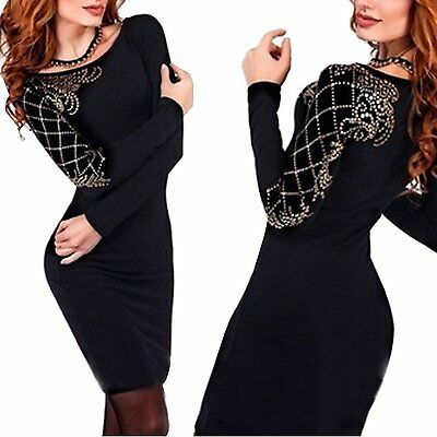 Women's fashion dress slim package hip skirt long sleeved diamond dress