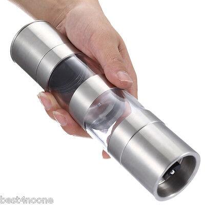 2 in 1 Manual Stainless Steel Pepper Salt Mill Grinder Kitchen Accessory
