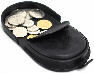 Quality Full Grain Cow Hide Leather Framed Tray Coin Purse. Black. Style: 11031.