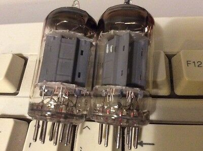 MATCHED PAIR ECC83 / 12AX7 Philips early mC2 tube Δ7C / Δ8I codes longplate 17mm