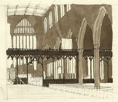 Patrick A. Faulkner, Interior Church View - Mid-20th-century pen & ink drawing