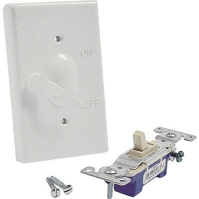 "Weatherproof Switch Cover, 4-39/64"" L x 2-53/64"" W x 39/64"" T, White 5121-1"