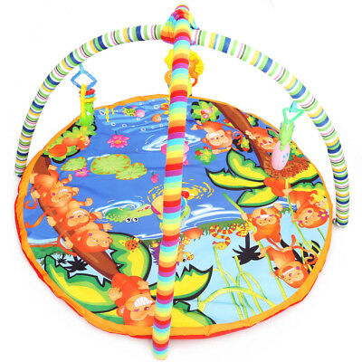 Baby Soft Play Mat Cartoon Animal Gym Blanket with Frame Rattle Crawling Toy